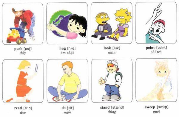 Học tiếng Anh qua hình ảnh động từ thông dụng cho bé 1